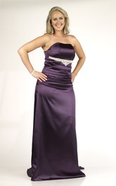 Strapless Satin plus size Dress With Ruched top And Sweep Train