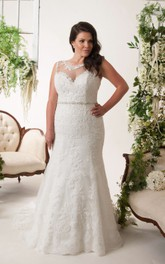 Scoop-neck Sleeveless Lace Appliqued Wedding Dress With Illusion And Beading
