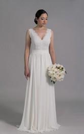 A-Line Chiffon Skirt Sleeveless Deep-V-Neckline Dress