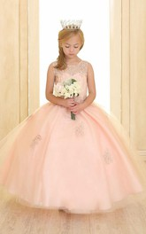 pastel Scoop-neck Sleeveless Ball Gown flower girl Dress With Beading