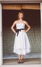 Taffeta Layers Satin Sash Sleeveless Strapless Dress