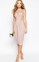 Pencil Scoop-Neck Tea-Length Cap-Sleeve Chiffon Bridesmaid Dress With Appliques And Illusion