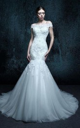 Lace Rhinestone Appliqued Tulle Mermaid Wedding Gown