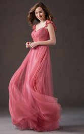Cap-Sleeved Tulle Gown With Ruffles And Square Back