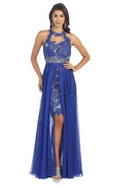 High Neck Sleeveless Pencil Prom Dress With Beading And Lace