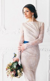 Bateau Lace Long Sleeve Pencil Backless Dress With bow And Sweep Train