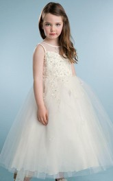 Jeweled Satin Layered Tea-Length Tulle Flower Girl Dress