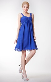 Chiffon Bateau Neckd Back Knee-Length Empire A-Line Dress