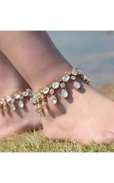Metal Texture Exaggerated Foot Strap Alloy Diamond Drip Tassel Anklets