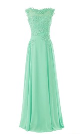A-Line Lace Appliqued Bateau-Neckline Cap-Sleeve Gown