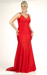 Sleeveless Sheath long plus size Dress With Zipper And Sweep Train