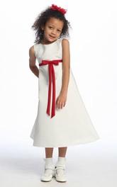 Sleeveless Bowknot Ankle-Length Satin Flower Girl Dress