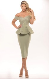 Off-the-shoulder Pencil Knee-length Jersey Dress With Appliques And Peplum