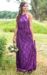 Ethereal Halter Sheath Sleeveless Floor-length Bridesmaid Dress