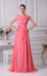 Caped-Sleeve Pleated Criss-Cross V-Neckline Dress