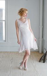A-Line Bridal Sleeveless Scalloped-Neckline Lace Dress