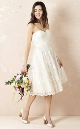 adorable Sweetheart A-line Lace Tea-length Wedding Dress With Pleats