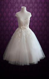 Short Satin Ribbon Appliques Lace-Bodice Jewel-Neckline Dress
