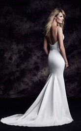 V-Shaped Neckline Satin Dress With Beading And Bandage