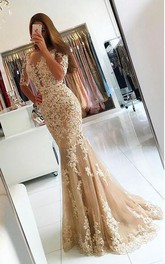 Short-Sleeve Appliqued Floor-Length Fishtail Lace Dress