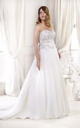 Sweetheart A-line Pleated plus size wedding dress With Crystal Detailing