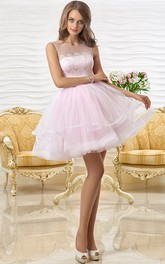 A Scoop-Neck Sleeveless Tiered Line Lace Mini Short Mini Dress