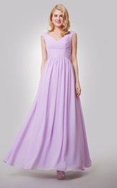 Chiffon Ruched Back Bow V-Neckline Cap-Sleeved Gown