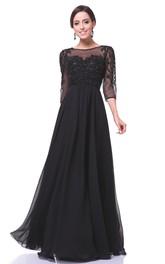 Bateau Illusion Half Sleeve Chiffon long Dress With Beading