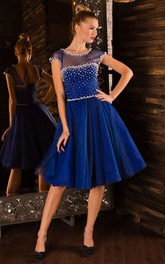 A-Line Knee-Length Jewel Short Sleeve Tulle Beading Pleats Lace-Up Dress