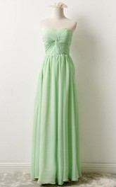 Sweetheart Floor-length central-ruched Chiffon long Bridesmaid Dress
