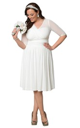 Half-Sleeves Ruffles Midi-Length Plus-Size Gown