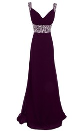 Sleeveless Beaded Jersey A-line Long Dress With Sweep Train