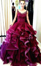 V-neck Lace Sleeveless Ruffled Ball Gown With Appliques