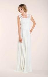 Sleeveless Pleated Floor-Length Lay Lace Ivory Dress