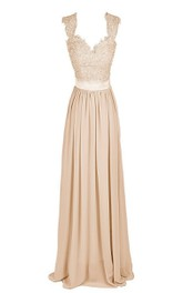 Floor-Length Embroidered Top Long V-Neckline Ruffled Gown