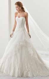 Sweetheart A-line draped Wedding Dress With Appliques And Corset Back