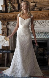 Lace Cap-sleeve Floor-length Wedding Dress With Appliques