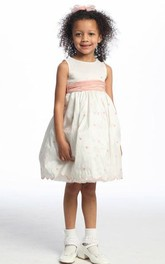 Floral Embroidered 3-4-Length Taffeta Flower Girl Dress