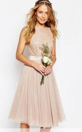 Knee-Length Sleeveless Jewel Neck Beaded Tulle Bridesmaid Dress