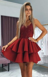 Spaghetti V-neck Satin Sleeveless Short Homecoming Dress with Lace and Tiers