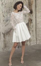 A Line Bateau Satin Lace Knee-length Long Sleeve Open Back Wedding Dress With Appliques