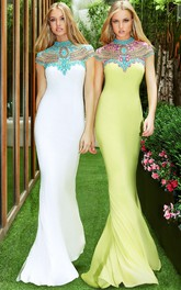 High Neck Short Sleeve Jersey Prom Dress With Keyhole back And multi-color Beading