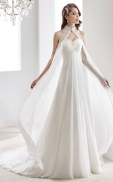 Sweetheart Criss cross A-line Empire Dress With Beading