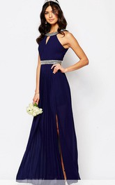 Ankle-Length Sleeveless High Neck Beaded Chiffon Bridesmaid Dress