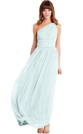 Floor-Length One-Shoulder Ruched Sleeveless Chiffon Muti-Color Convertible Bridesmaid Dress