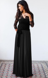 V-neck Lace Long Sleeve Chiffon Floor-length Dress With bow