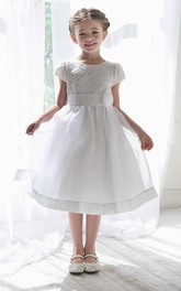 Lace Satin Sash Floral Tea-Length Flower Girl Dress