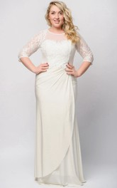 Jewel Beaded Zipper Long Sheath Lace Jersey Dress