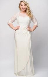 Jewel Beaded Zipper Long Sheath Lace Jersey Dress