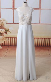 Cap Sleeve Front Split Lace Chiffon A-line Wedding Dress Scoop Neck With Illusion Button Back